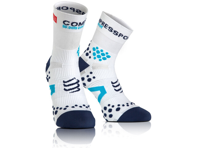 Compressport Racing V2.1 Run High Socks White/Blue